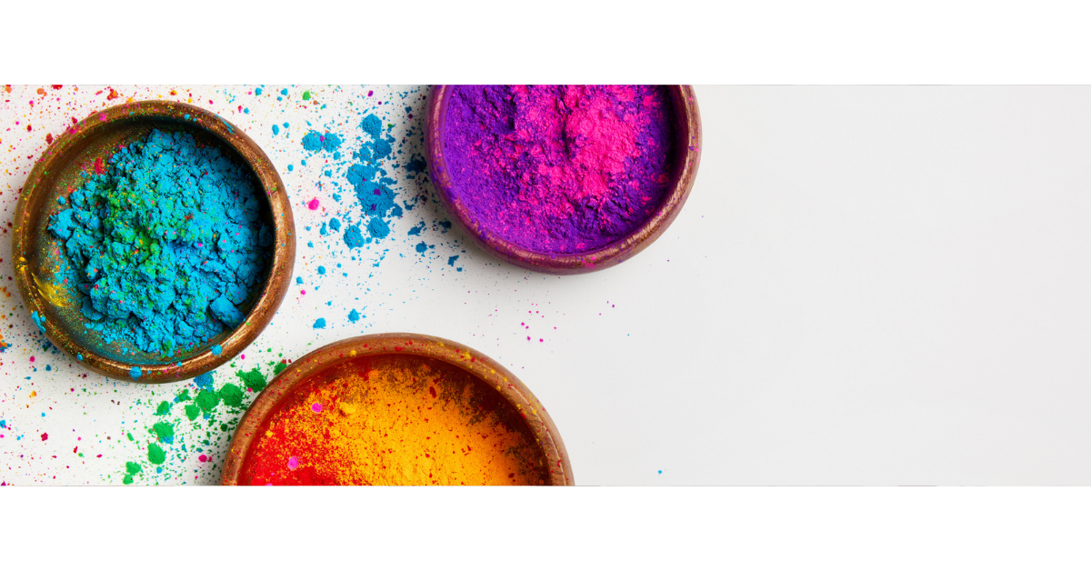 Bowls of colorful dye