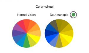 vector illustration, infographics, color wheel, palette, normal vision deuteranopia daltonism color blindness