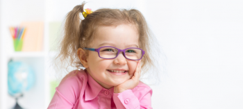 A little girl with myopia