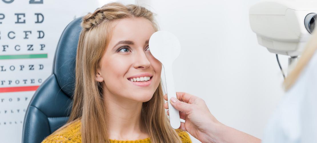 A teen getting a vision test
